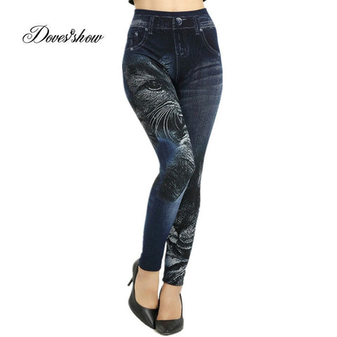 Slim Plus Size Seamless Cat Print Faux Denim Jeans Leggings