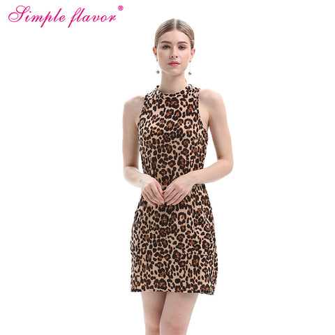 Slim Leopard Print Cocktail Party Mini Dress