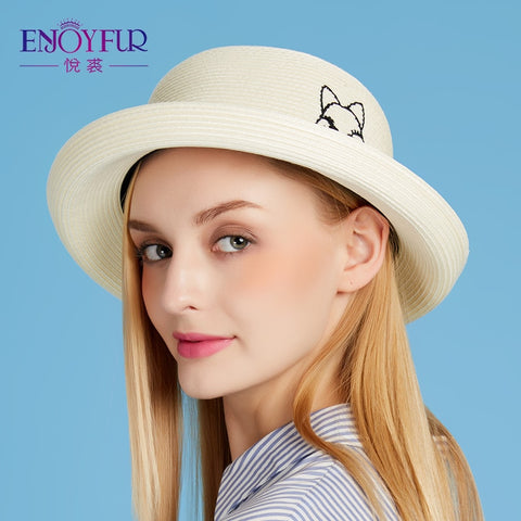 Cute Cat Straw Crimping Brim Casual Sun Hat