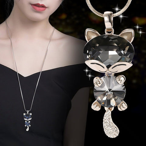 Long Lovable Cat crystal Pendant  Necklace