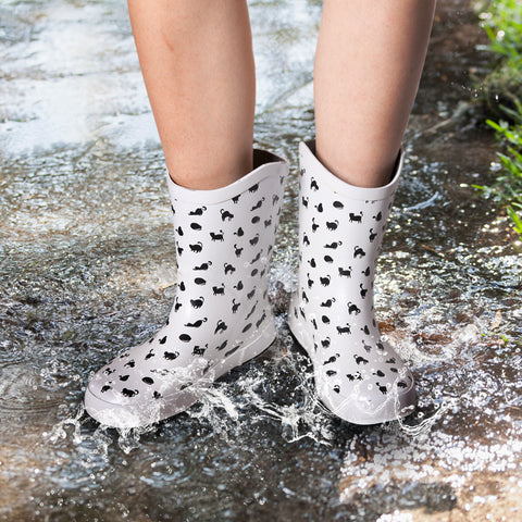 Rubber Low Heel Cat Print Rain Boots