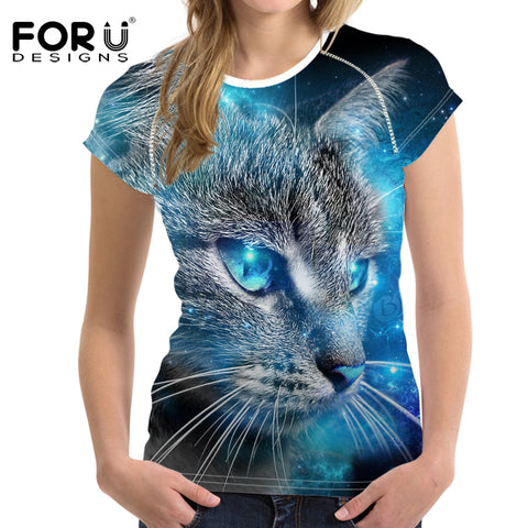 Galaxy Cat Print T-Shirt And Many Colorful Cat Prints Or Customized T-Shirts
