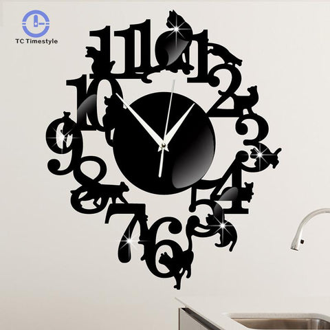 Cat Wall Clock With Mirror Acrylic Surface