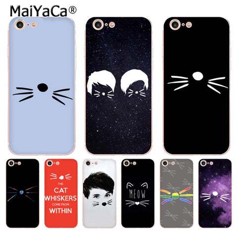 CAT WHISKERS Case For iPhone 8 7 6 6S Plus X 5 5S SE 5C