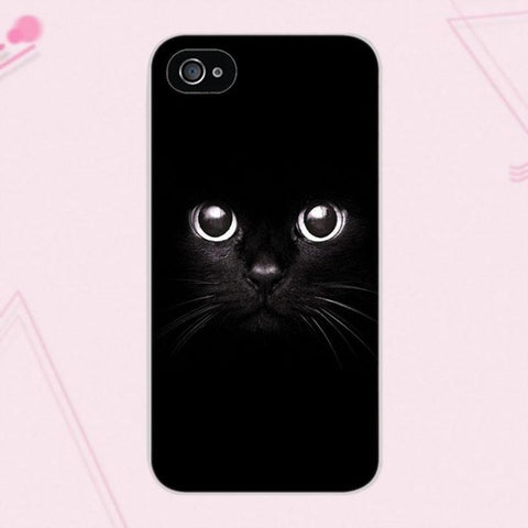 Black Cat Staring Eyes Case For iPhone 4 4S 5 5C SE 6 6S 7 8 Plus X Galaxy A3 A5 J1 J3 J5 J7