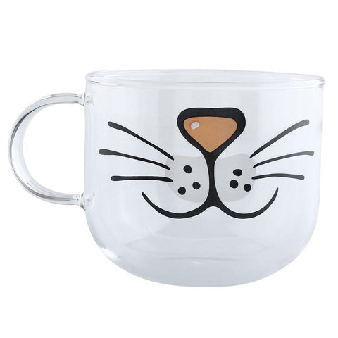 Meow Face Glass Cat Coffee Cup - Cats Love Life