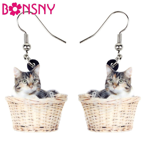 Acrylic Cat In A Basket Earrings
