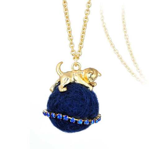 Golden Cat On A Yarn Pendant