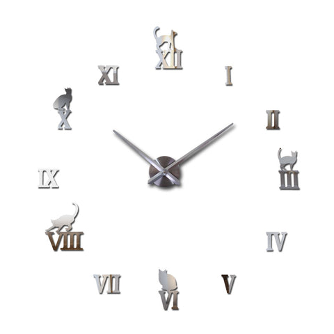 Large Mirror Wall Clock With Cats Sitting On Roman Numbers - Cats Love Life