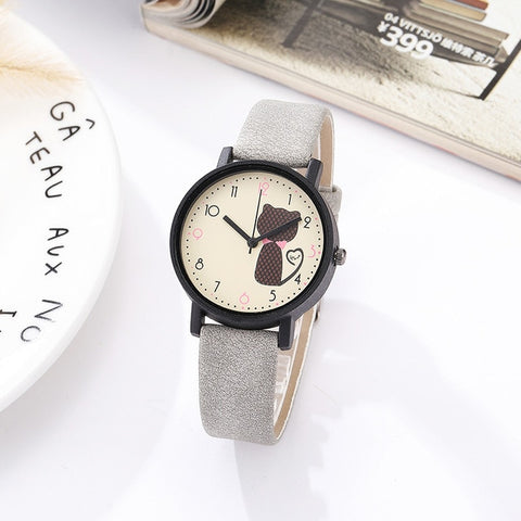 Matte Leather Cute Cat Wristwatch