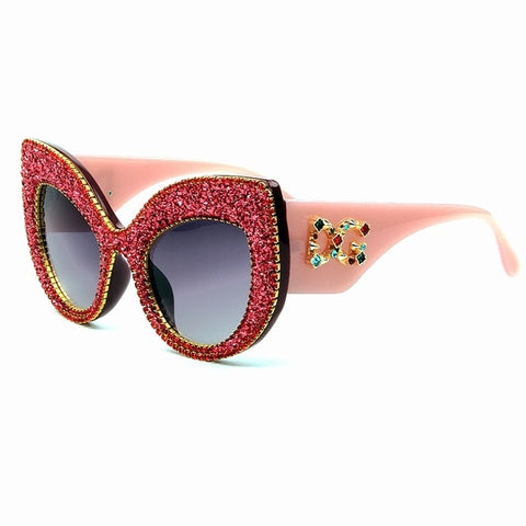 Vintage Blinged Out Oversized Cat Eye Sunglasses
