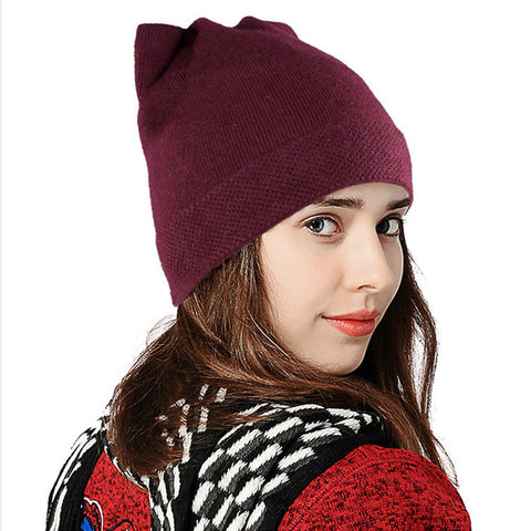 Ladies Knitted Cat Ear Beanie