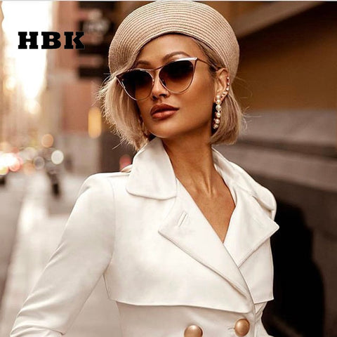 Brand Designer Chic Metal Sexy Cat Eye Sunglasses