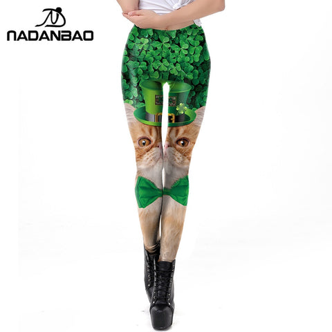 Lucky Clover Cat Leggings St. Patrick's Day