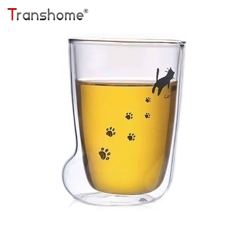Creative Cat Paw Double Wall Glass Cup