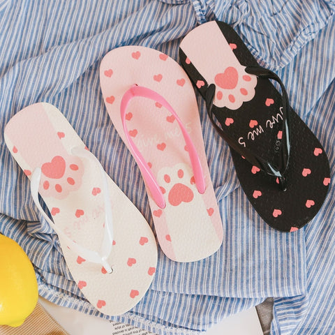 Cute Cat Paws Flip Flops