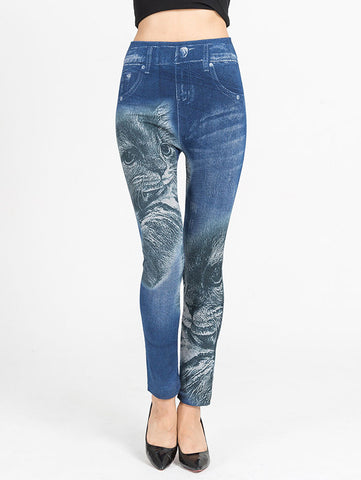 Cat Print Faux Denim Leggings