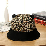 Leopard Print Bucket Hat With Cat Ears