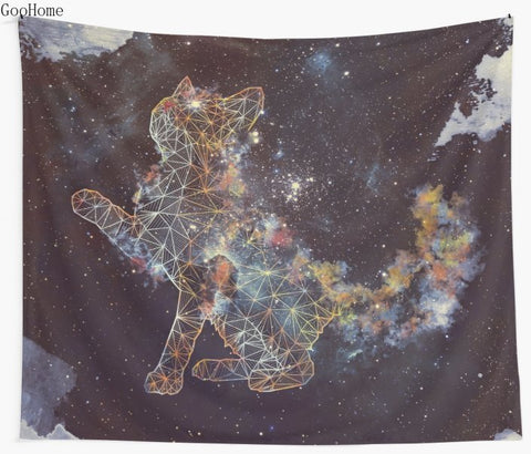 Celestial Cat Wall Tapestry Beach Blanket Picnic
