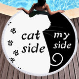 Summer Large Round Beach Towel Cat Side My Side Tassel Mat