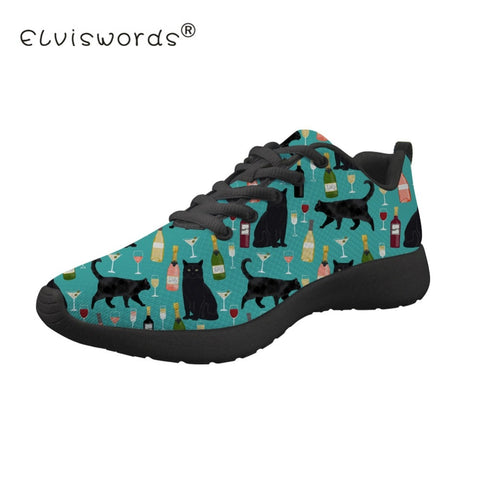 Cats Love Wine And More Lace Up Casual Comfortable Flat Shoes