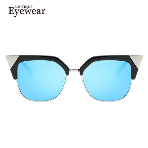 Metal Semi-Rimless Cat Eye Sunglasses - Cats Love Life