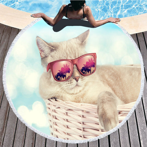 Grande Round Cat Beach Towels
