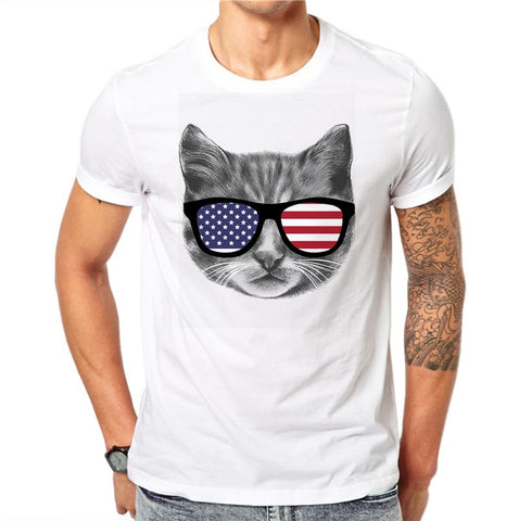 Fun American Flag Glasses Cool Cat Men's T-Shirt