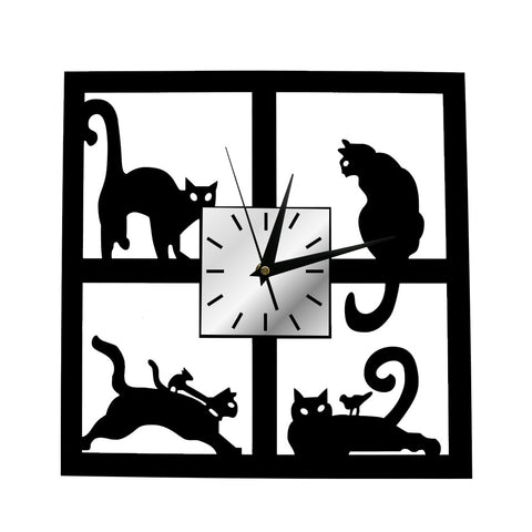 Cats On The Window Clock