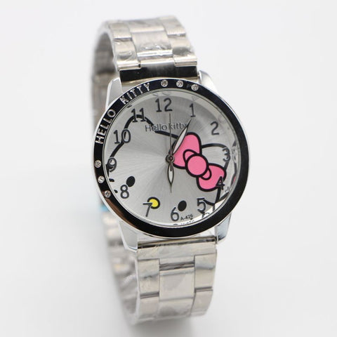 Full Steel Hello Kitty Pink Diamond Ladies Watch In Black Pink And White