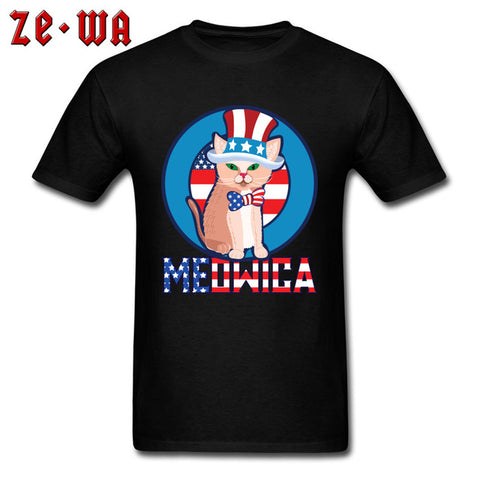 Meowica Cat In Uncle Sam Hat T-Shirt