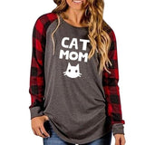 Plaid Stitching Long Sleeve Cat Mom Shirt
