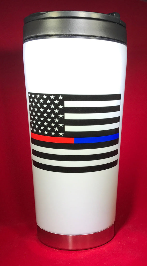 Thin Red/Blue Line Flag Drinkware