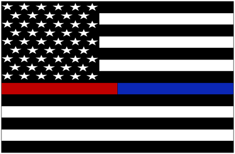 Thin Red/Blue Line Flag Sticker (Free Shipping!)