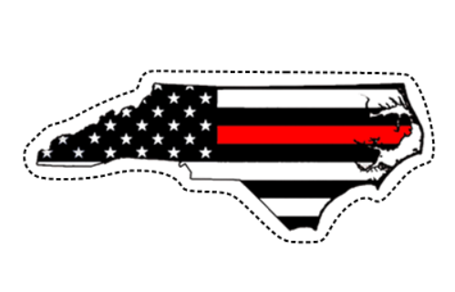 Thin Red Line Flag (NC) Sticker (Free Shipping!)