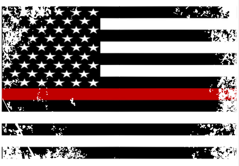 Thin Red Line Flag Distressed Sticker (Free Shipping!)