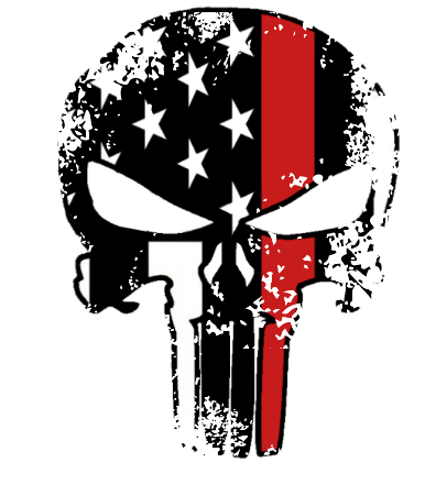 Thin Red Line Punisher Distressed Sticker (Free Shipping!)