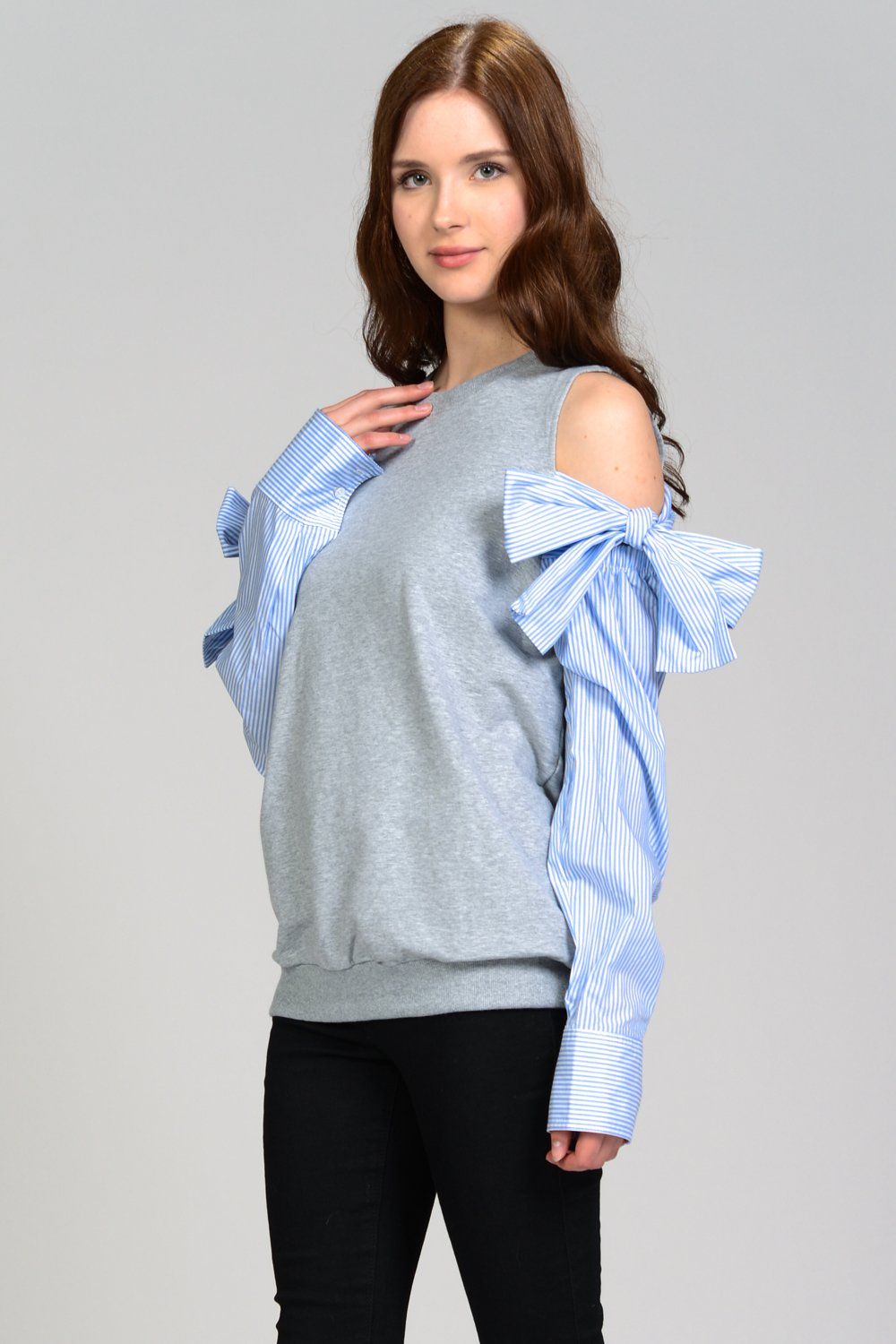 6b29fbdcc72bba Just like this COLD SHOULDER SIDE RIBBON SWEATSHIRT piece