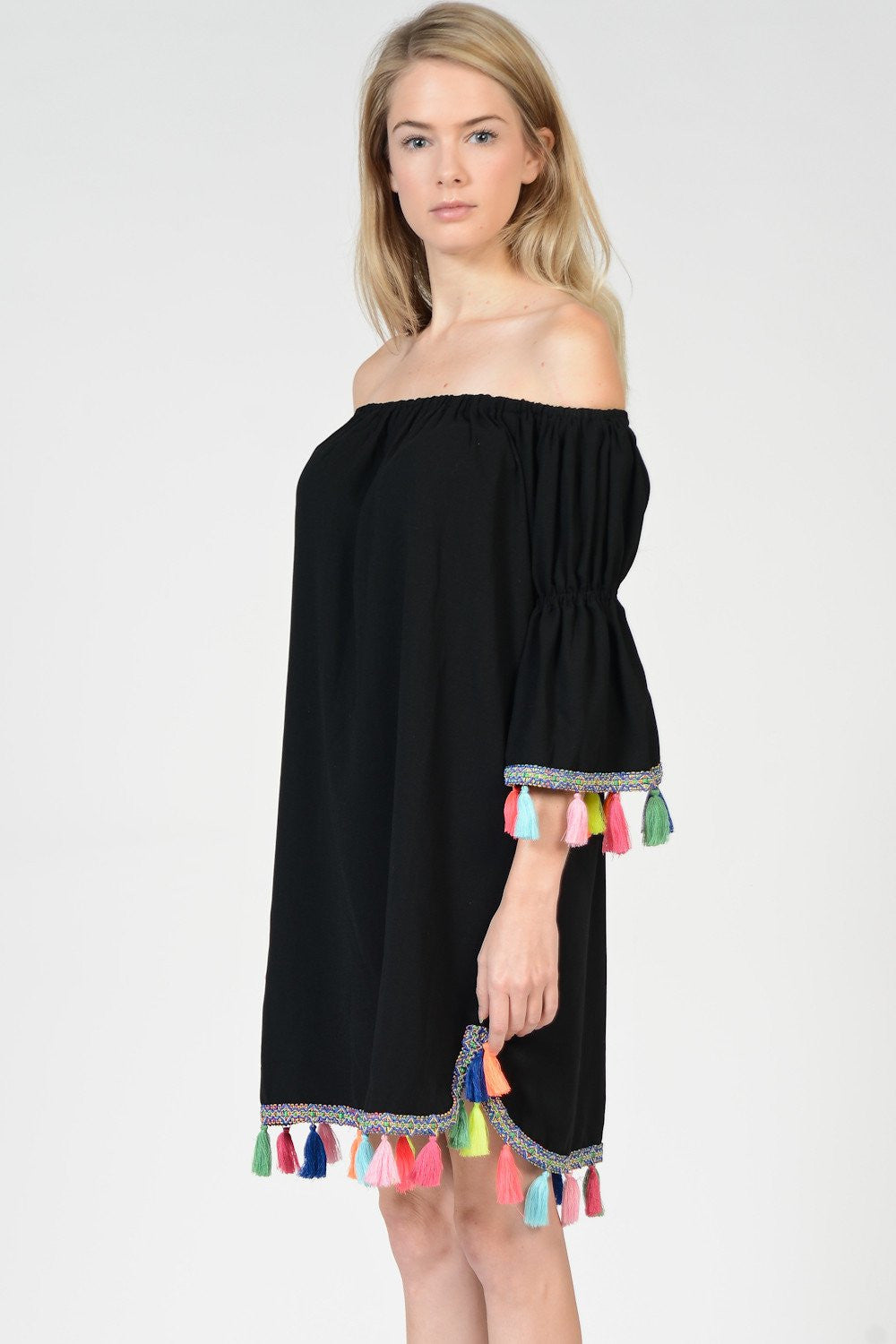 Off Shoulder Color Tassels Black Dress