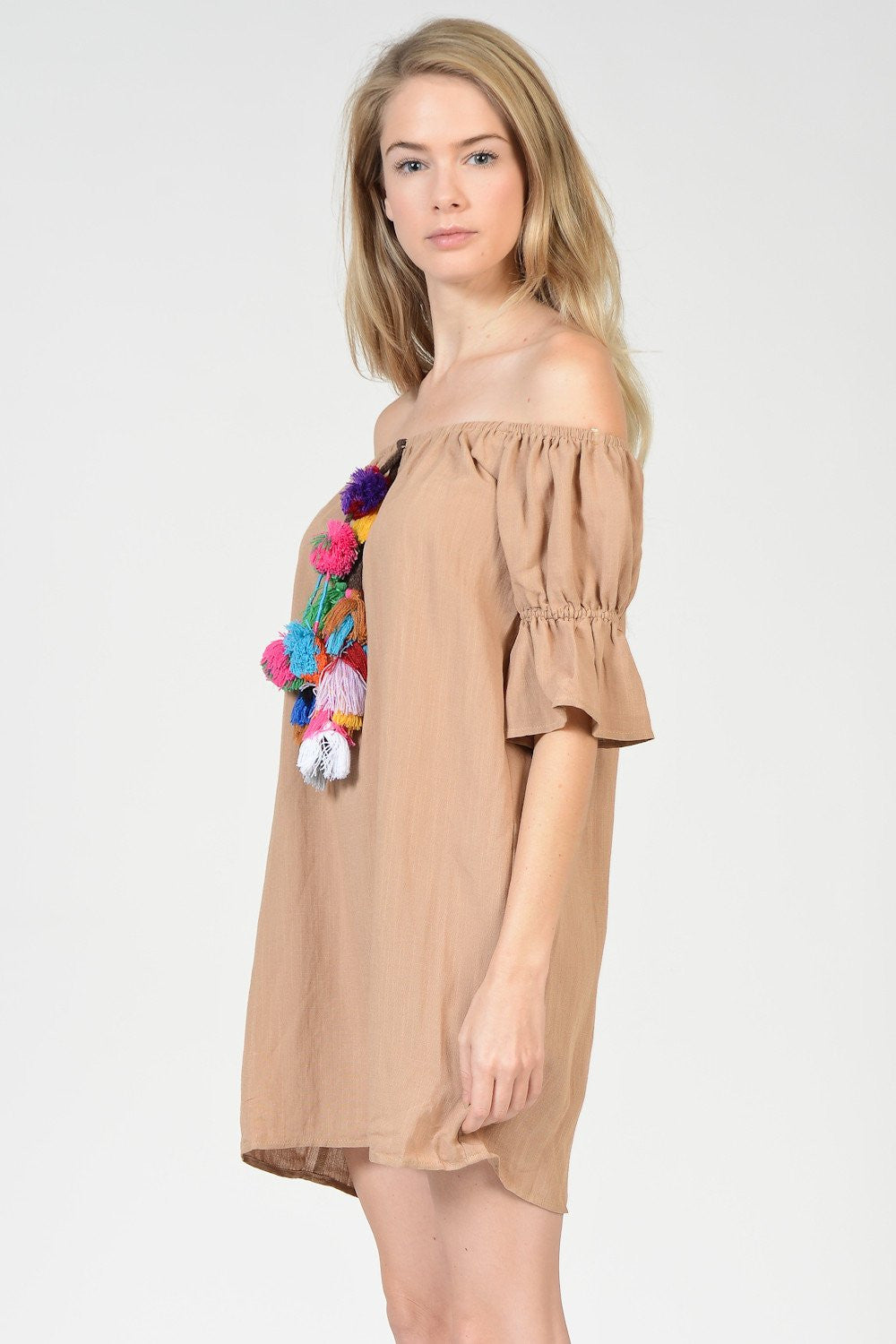 Off Shoulder Pom Pom Dress