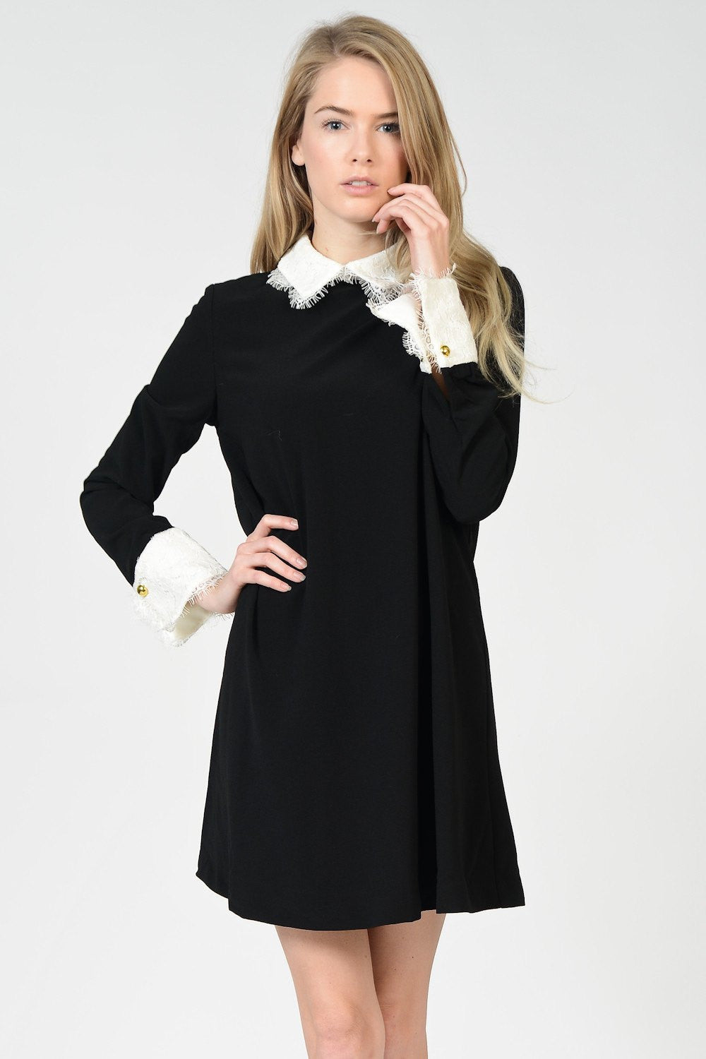 Lace Collar Black Dress