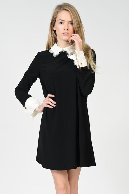 Short Sleeve Small Bow Badge Shirt Dress