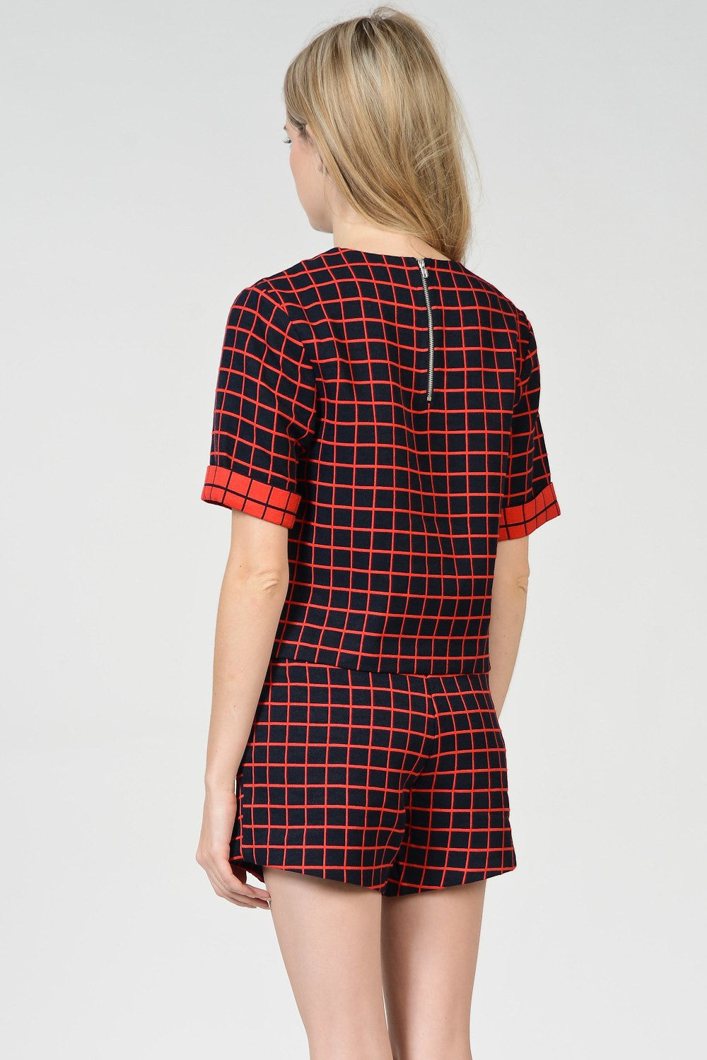 Navy X Red Plaid Tops