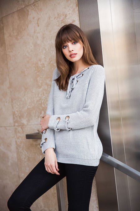 Eyelet Lace Up Sleeve Sweater