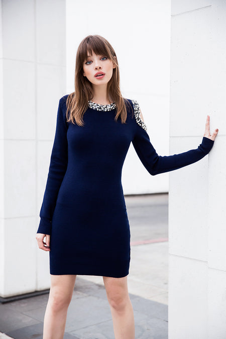 Stars Choker Neck Wrap Dress