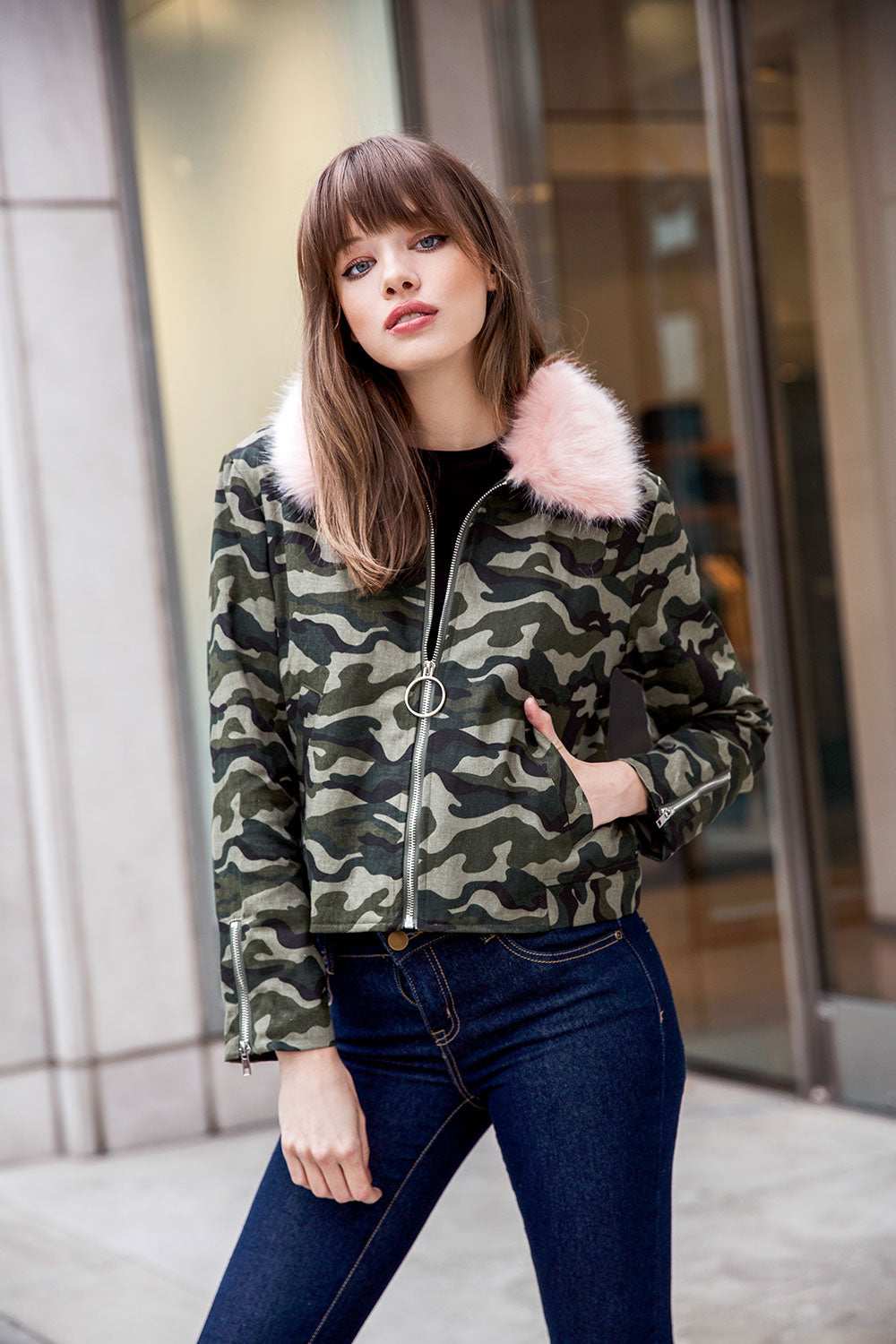Pink Fur Collar Camo Jacket