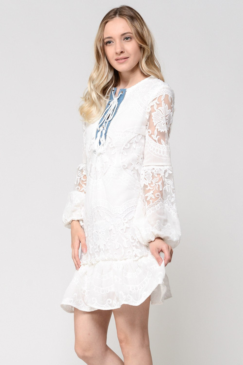White Detail Lace Ruffle Dress