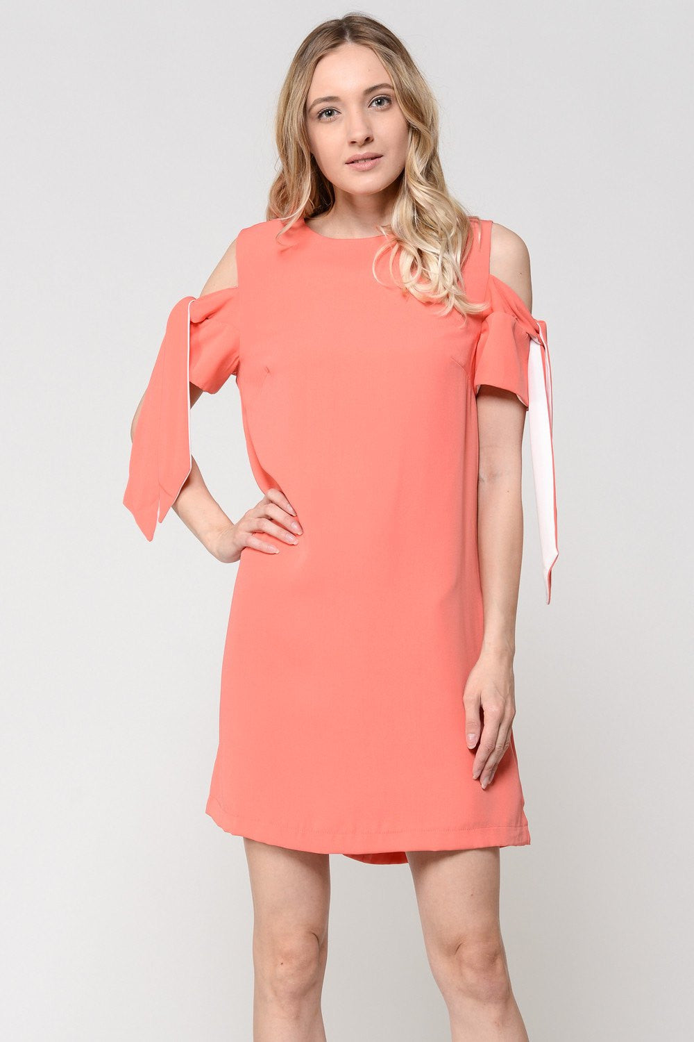 Coral Cold Shoulder Tie Dress