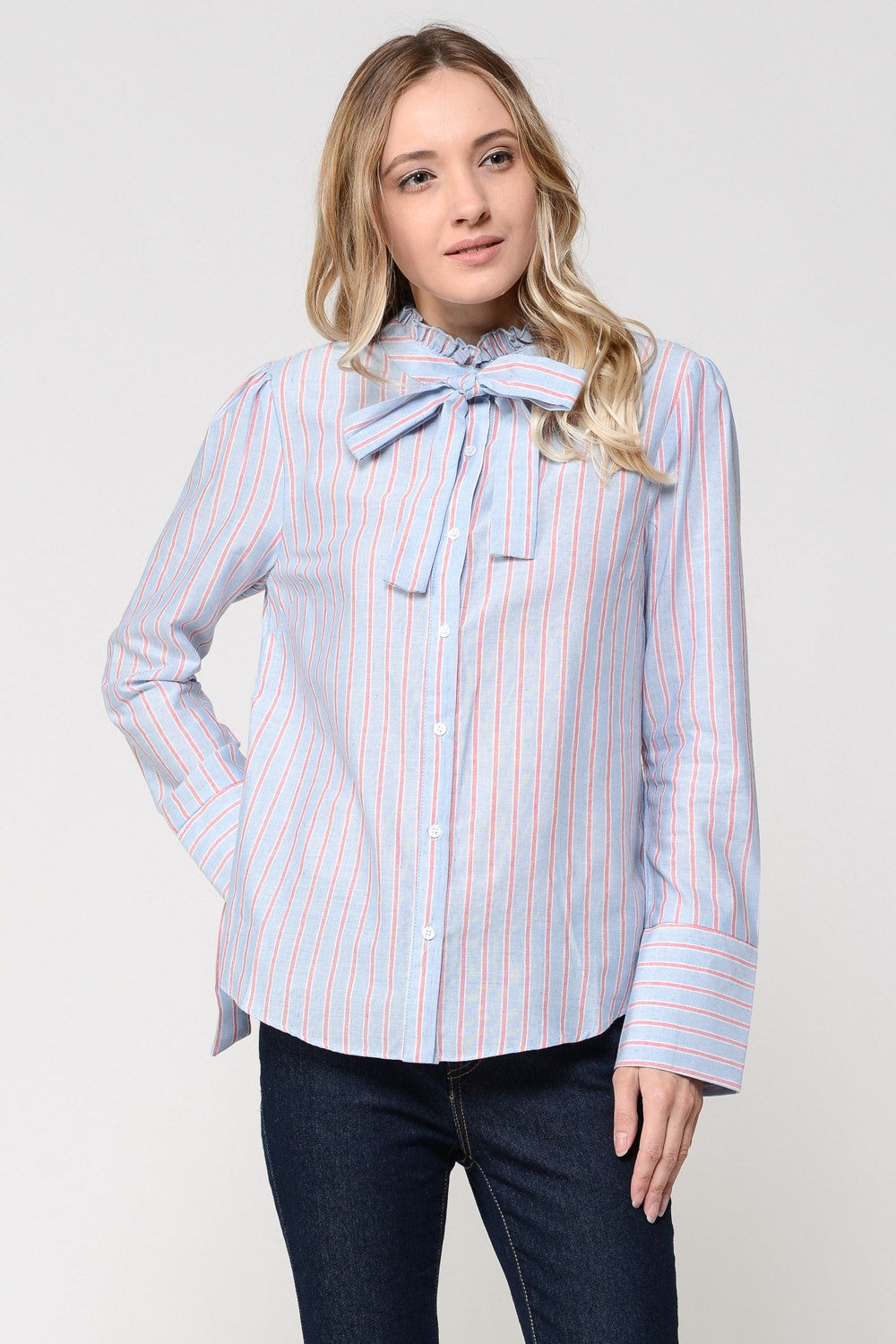 Blue & Red Stripes with Ring At Sleeve Shirt