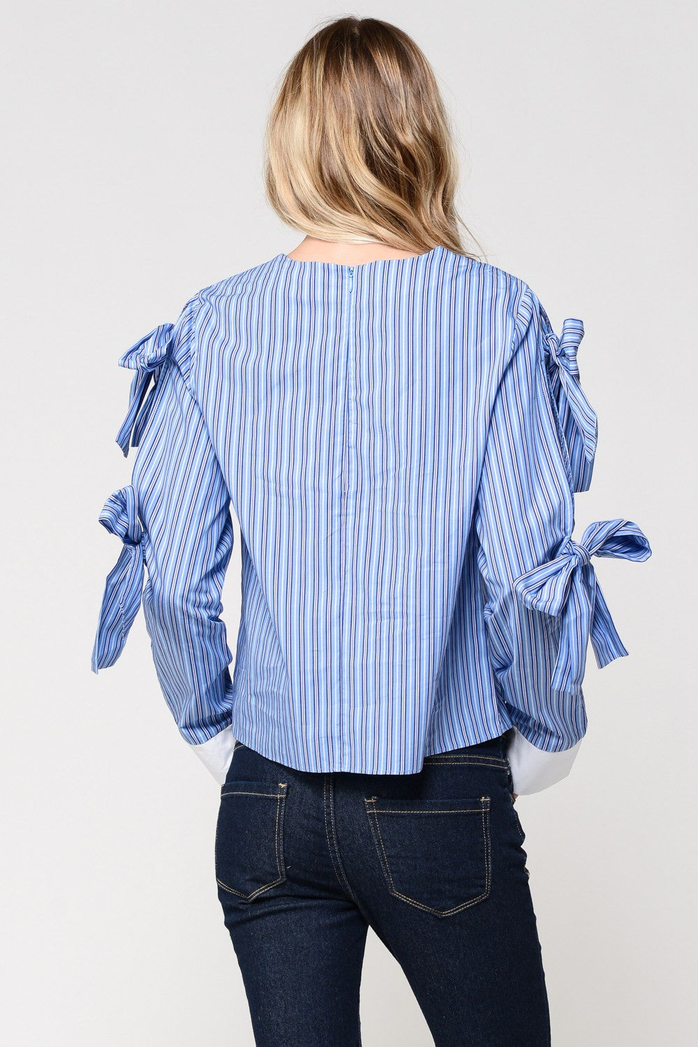 Blue Stripes Ribbon Tie Sleeve Shirt